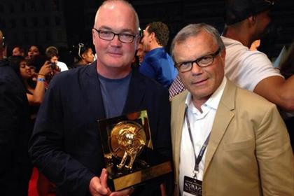 WPP celebrates winning holding group of the year in Cannes: O'Keeffe (left) and Sorrell