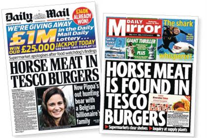 Headlines: How the tabloids reported Tesco's 'horsemeat' burgers