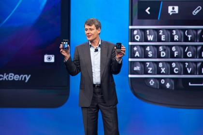 Launch: CEO Thorsten Heins unveils the BlackBerry 10 last week