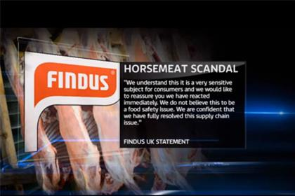 Sky news: coverage of Findus' statement regarding horsemeat
