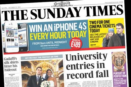 The Sunday Times: fell 8.5% year on year to 967,990 copies