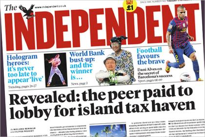 The Independent: cover price rises to 1.20 next week