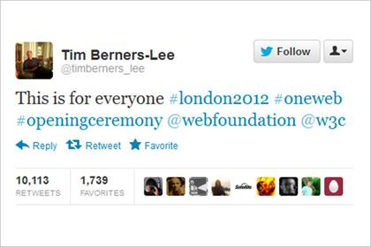 Tim Berners-Lee: sends Olympic tweet