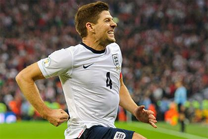 ITV: England footballer Steven Gerrard celebrates after scoring the second goal against Poland