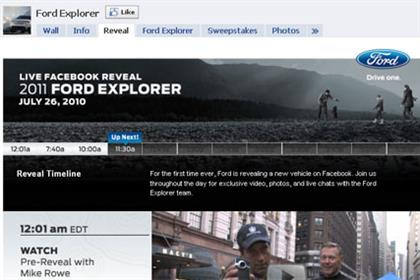 Ford: revealing new Explorer model on Facebook