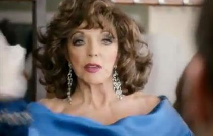Joan Collins: seen in full flow in latest Snickers ad