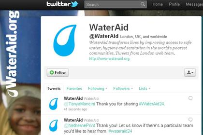 WaterAid: runs 24-hour Twitterthon