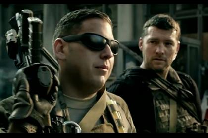 Knocked Up actor Jonah Hil and Terminator's Sam Worthington in the Modern Warfare 3 ad