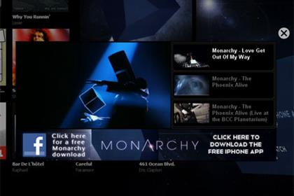 Takeover: Monarchy's Spotify homepage