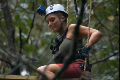 I'm a Celeb: Helen Flanagan attempts a high-wire crossing in the jungle