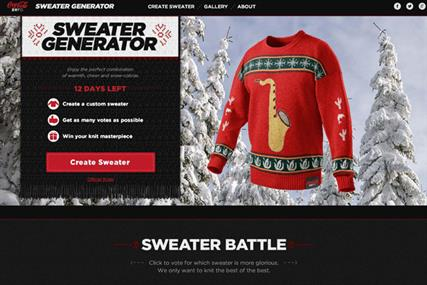 Coke invites users to create their own tacky custom Christmas sweater