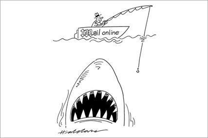 Times cartoonist David Haldane illustrates the perceived precariousness of MailOnline's reliance on digital ads