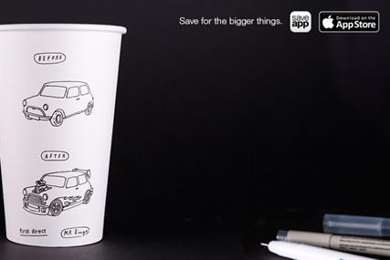 First Direct: coffee cups carrying bespoke Mr Bingo illustrations form the core of #SavingCup campaign