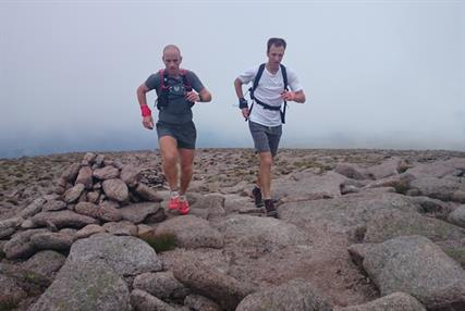 Dr Andrew Murray (right) with training partner Donnie Campbell during the 10-peak challenge