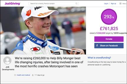 JustGiving page for racing driver is its biggest-ever crowdfunding page