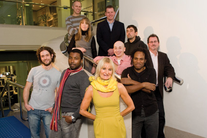 Clockwise from front: Tricia Harris, Mark Charles, Joe Goldstein, Anne-Marie Collins, Dave Brooks, Ian Sweeney, Paul Allen, Mike Grover, Rob Baker and (far right) creative director John Morgan