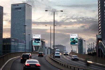 Ocean Outdoor: the Two Towers East roadside displays near Canary Wharf