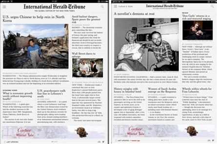 International Herald Tribune: launches news apps