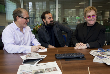 The Independent's editor-in-chief Simon Kelner, Evgeny Lebedev, chairman of Independent Print Limited, and singer Elton John, who guest-edited last Wednesday's paper