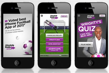 Absolute Radio: iAd campaign promotes network's Rock 'N' Roll Football coverage