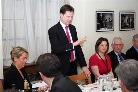 Nick Clegg: the deputy prime minister addresses the Newspaper Society