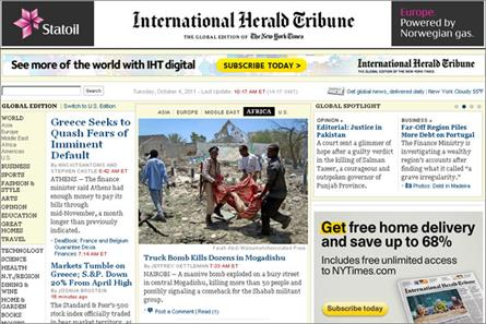 International Herald Tribune: introduces digital subscriptions