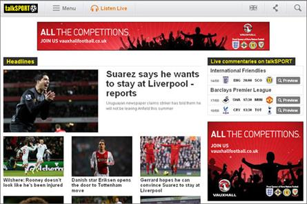 TalkSport: sponsor Vauxhall runs a takeover of station's  homepage