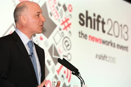 Shift 2013: Newsworks' chief executive, Rufus Olins, addresses delegates at the first event of its kind