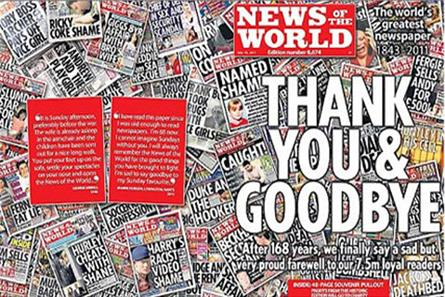 News of the World: closed by News Corp at the height of the hacking scandal