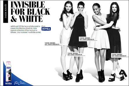Nivea: teams up with Asos to promote Invisible for Black & White deodorant