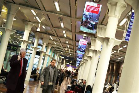 St Pancras International: Vodafone ads feature on JCDecaux digital screens