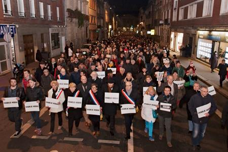 Parisian citizens in support of Charlie Hebdo (©Frédéric Bisson)
