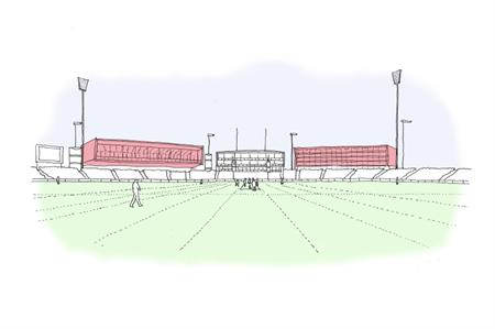 Artist's impression of the proposed hotel alongside the Pavilion at Emirates Old Trafford
