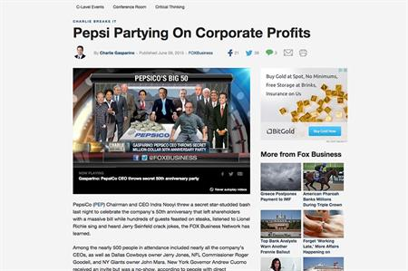 An article in the US slammed Pepsi's 50th anniversary party