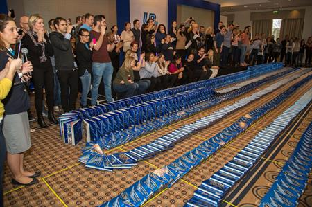 The United Biscuits UK sales team achieved the Guinness World Record for 'most books toppled in a domino fashion'