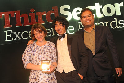 Merlin's Imogen Ward and Deniz Hassan with presenter Paul Sinha