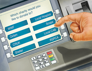 Cash machine giving