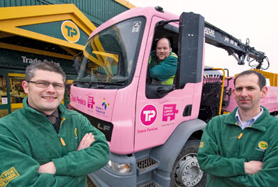 Travis Perkins sprayed delivery vehicles pink and gave staff pink clothing for breast cancer awareness