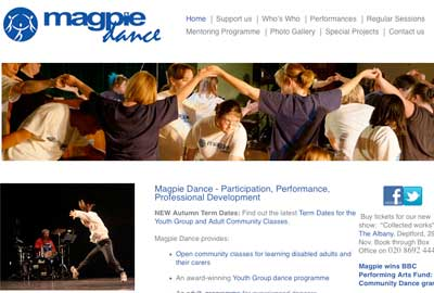 Magpie Dance, a community dance company for people with and without disabilities