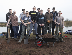 Members of the CAST project help to dig fishing lakes at the Future Newstead project, which uses BLF funding