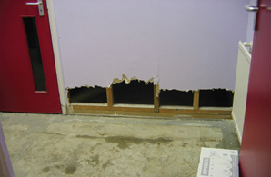 Flood: water damaged walls