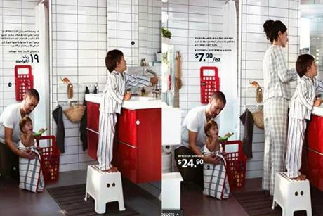 Ikea: woman is airbrushed out of photo (left) for Saudi Arabian catalogue