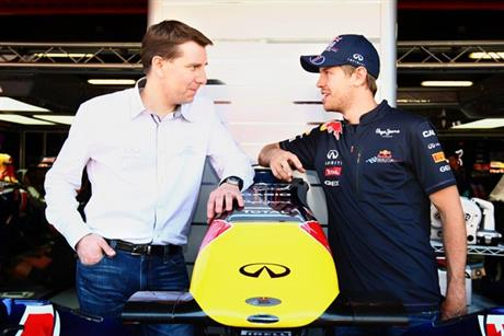 Infiniti deal: Simon Sproule of Nissan Motor Company with Sebastian Vettel