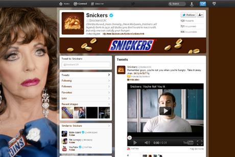 Snickers: one of the first to launch branded Twitter page