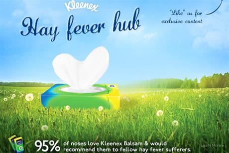 Kleenex: promotes its Balsam range on Facebook