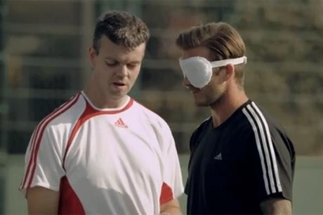 David Beckham: plays blindforded in ad promoting Sainsbury's sponsorship of the 2012 Paralympics