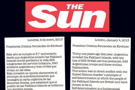 The Sun: carries ad replying to Argentinian president's open letter