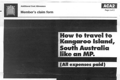 Blacked out claims forms ... used to promote South Australian tourism