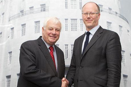 Lord Patten (l) and George Entwistle: new director-general is former Newsnight editor