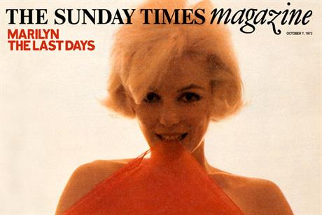 Marilyn Monroe: on the cover of The Sunday Times magazine, 7 October 1973